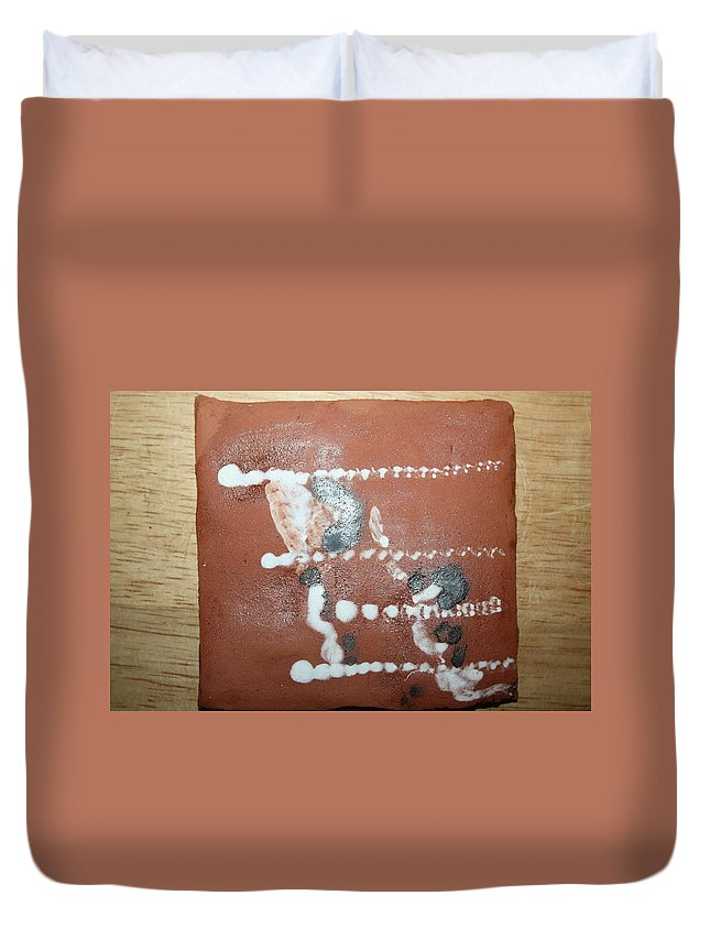 Jesus Duvet Cover featuring the ceramic art Celia And Brian - Tile by Gloria Ssali