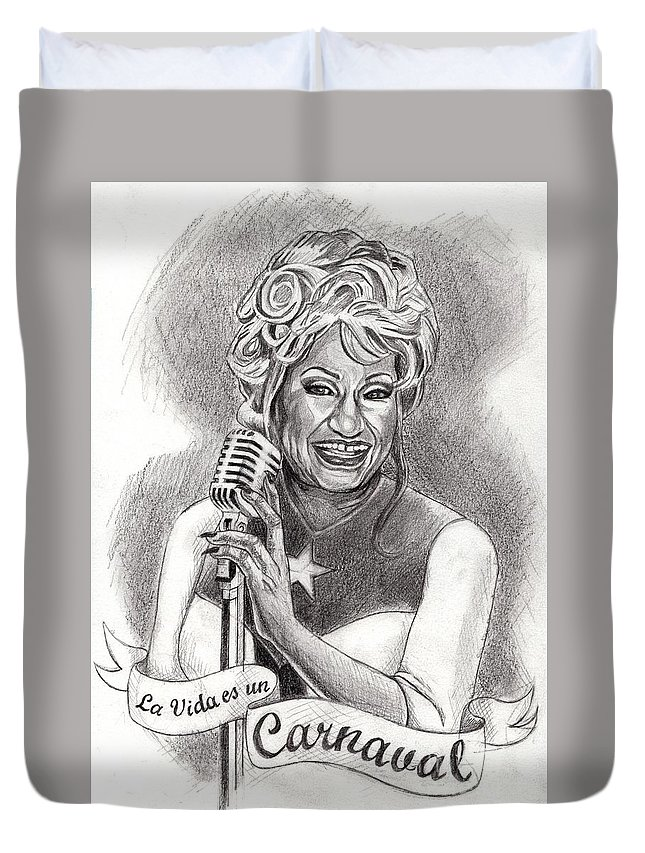 Graphite Duvet Cover featuring the drawing Celia Cruz by Andrea Reyes