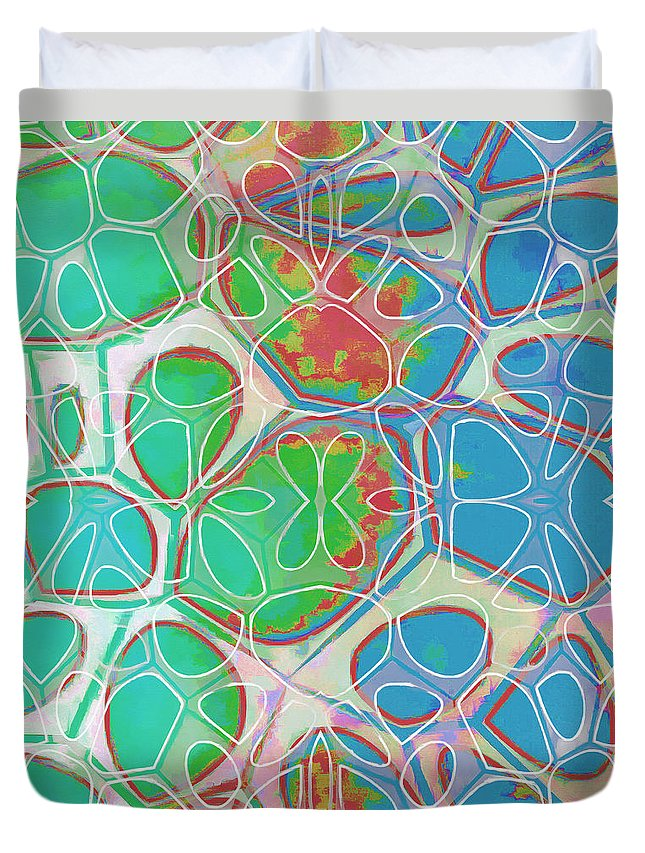 Painting Duvet Cover featuring the painting Cell Abstract 10 by Edward Fielding
