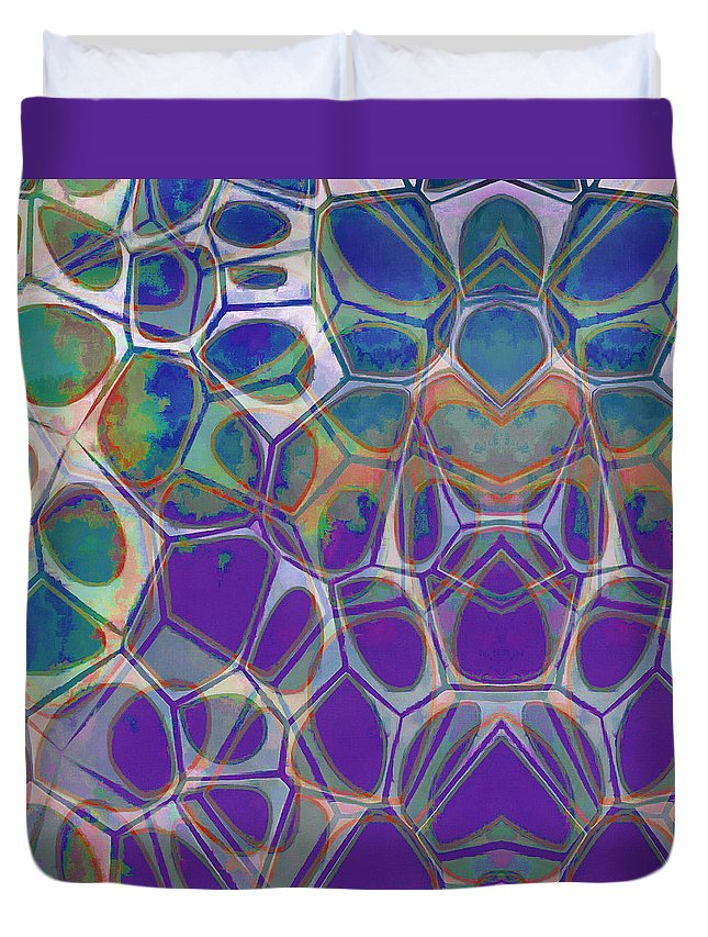 Painting Duvet Cover featuring the painting Cell Abstract 17 by Edward Fielding