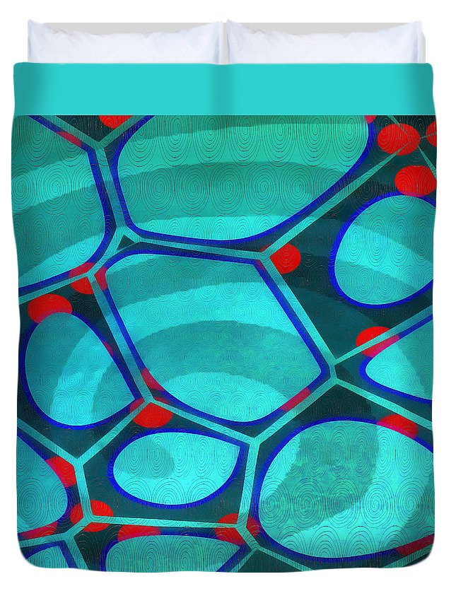 Painting Duvet Cover featuring the painting Cell Abstract 6a by Edward Fielding