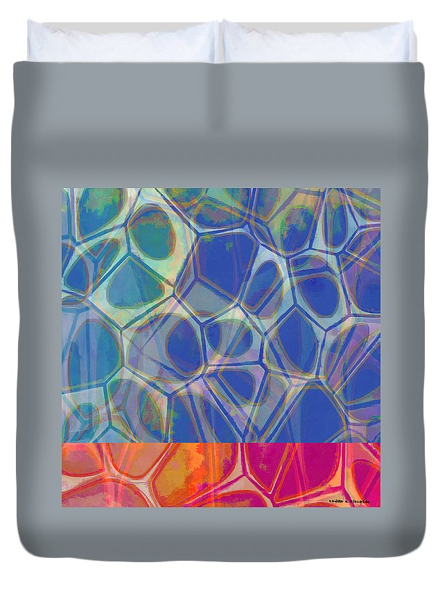 Painting Duvet Cover featuring the painting Cell Abstract One by Edward Fielding