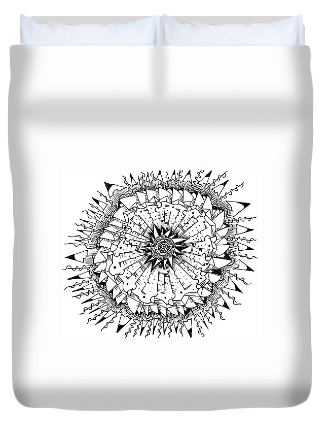 Abstract Duvet Cover featuring the drawing Cell by Daniel Rustad