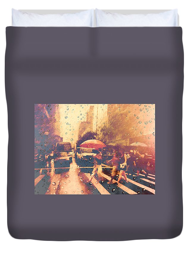 New York Duvet Cover featuring the photograph Cell Pic V by Tina Baxter