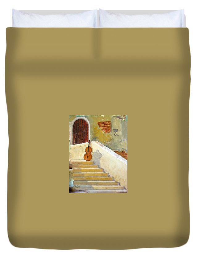 Cello Duvet Cover featuring the painting Cello No 3 by Richard Le Page