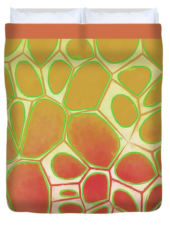 Painting Duvet Cover featuring the painting Cells Abstract Five by Edward Fielding