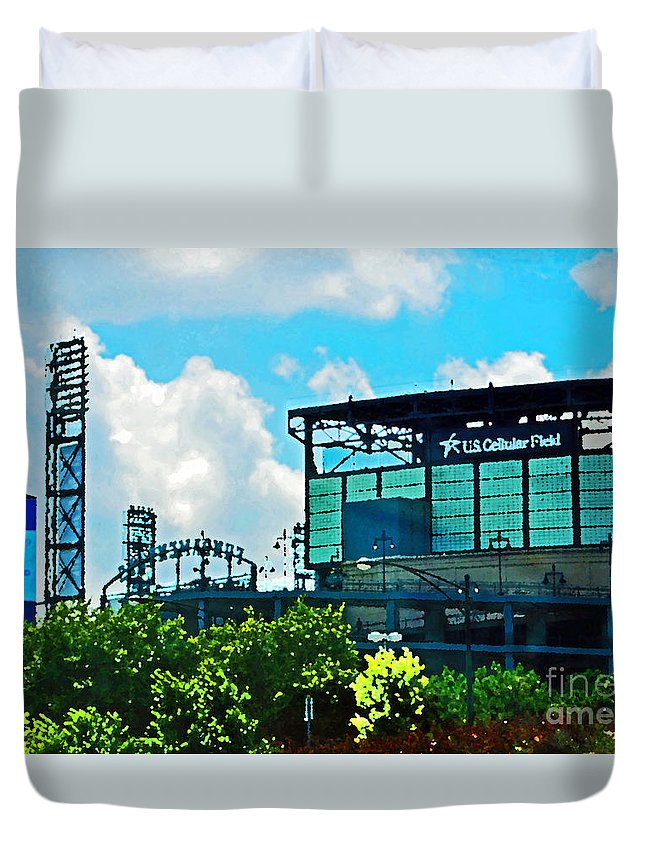 Chicago Duvet Cover featuring the digital art Cellular Field by Don Baker