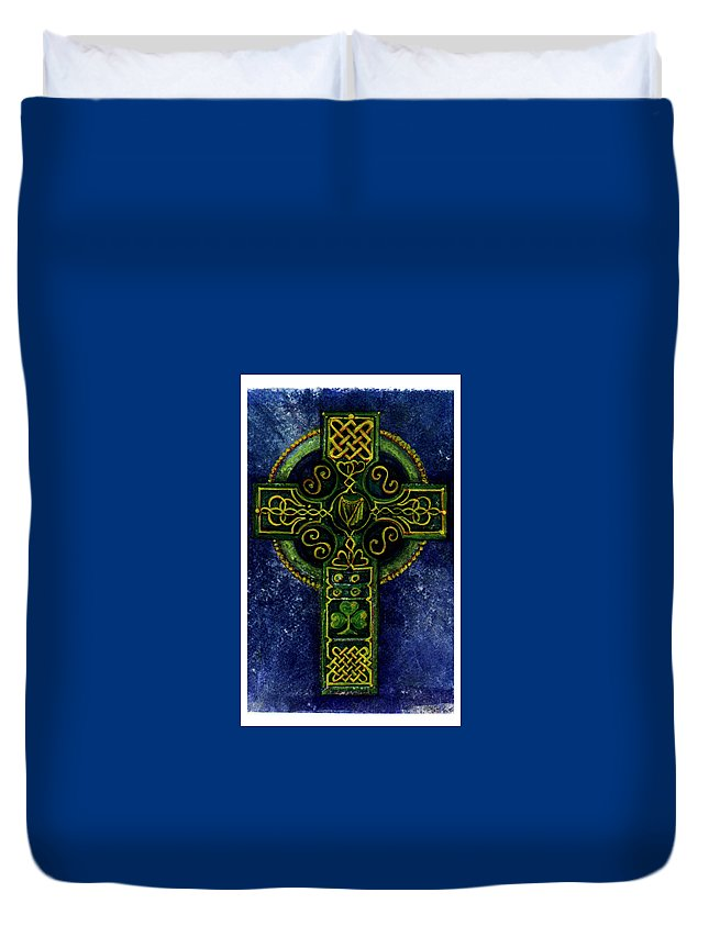Elle Fagan Duvet Cover featuring the painting Celtic Cross - Harp by Elle Smith Fagan