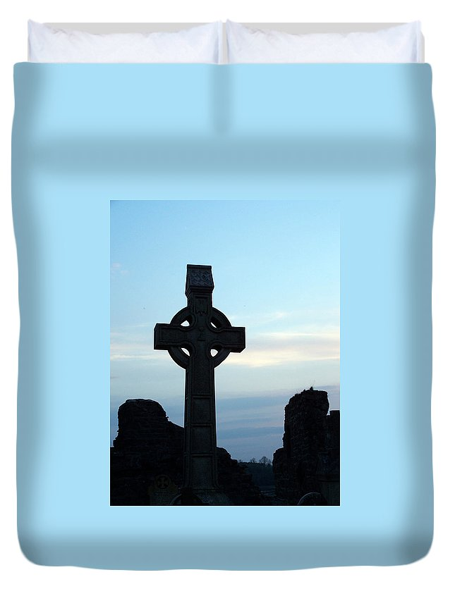 Irish Duvet Cover featuring the photograph Celtic Cross At Sunset Donegal Ireland by Teresa Mucha