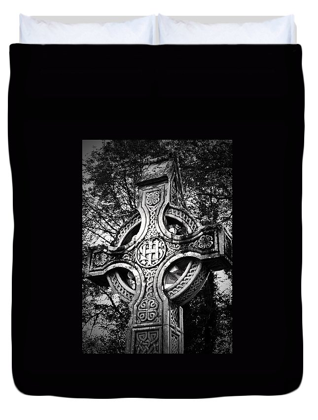 Irish Duvet Cover featuring the photograph Celtic Cross Detail Killarney Ireland by Teresa Mucha