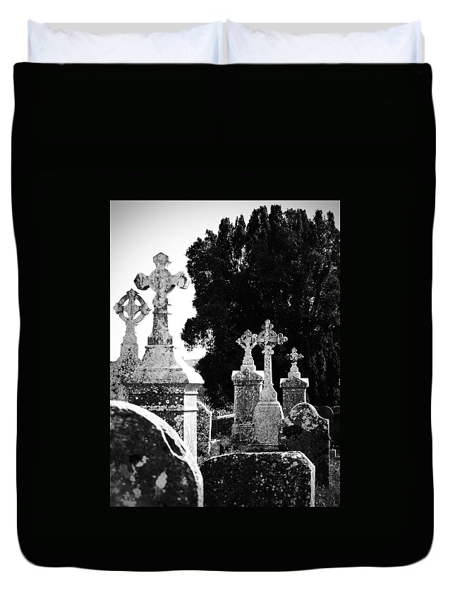 Celtic Duvet Cover featuring the photograph Celtic Crosses at Fuerty Cemetery Roscommon Ireland by Teresa Mucha