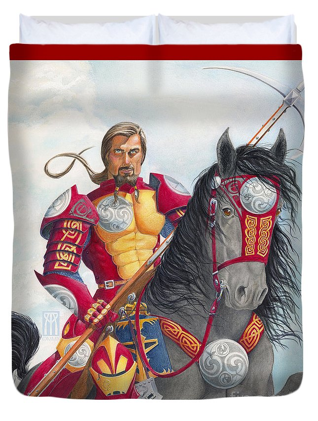 Knight Duvet Cover featuring the drawing Celtic Iron Man by Melissa A Benson