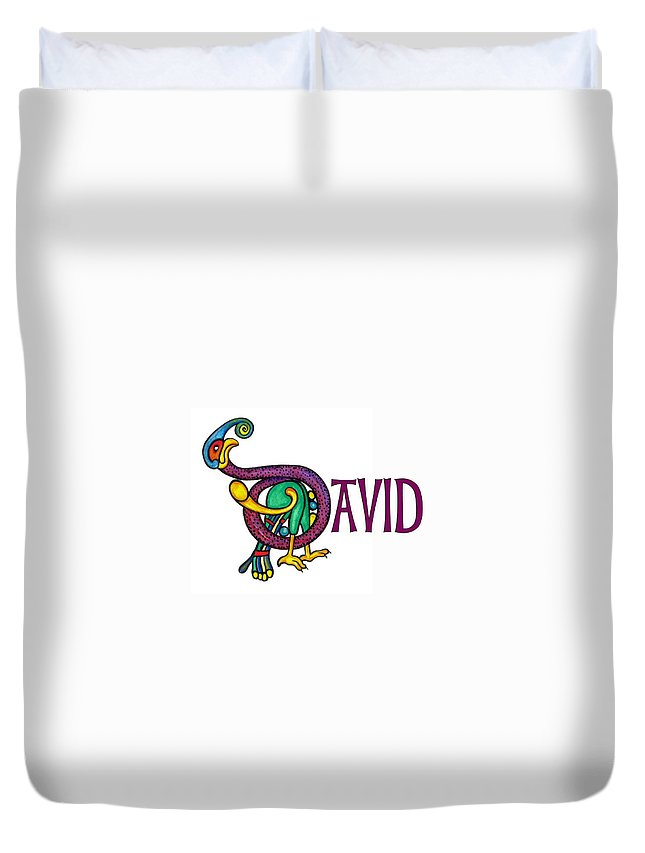 Celtic Duvet Cover featuring the painting Decorative Celtic Name David by Frances Gillotti