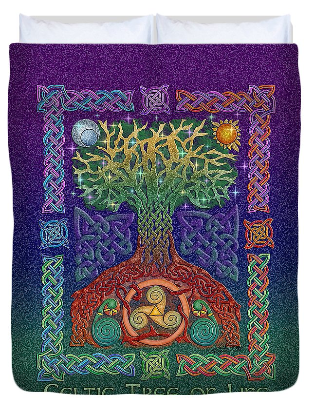 Artoffoxvox Duvet Cover featuring the mixed media Celtic Tree Of Life by Kristen Fox