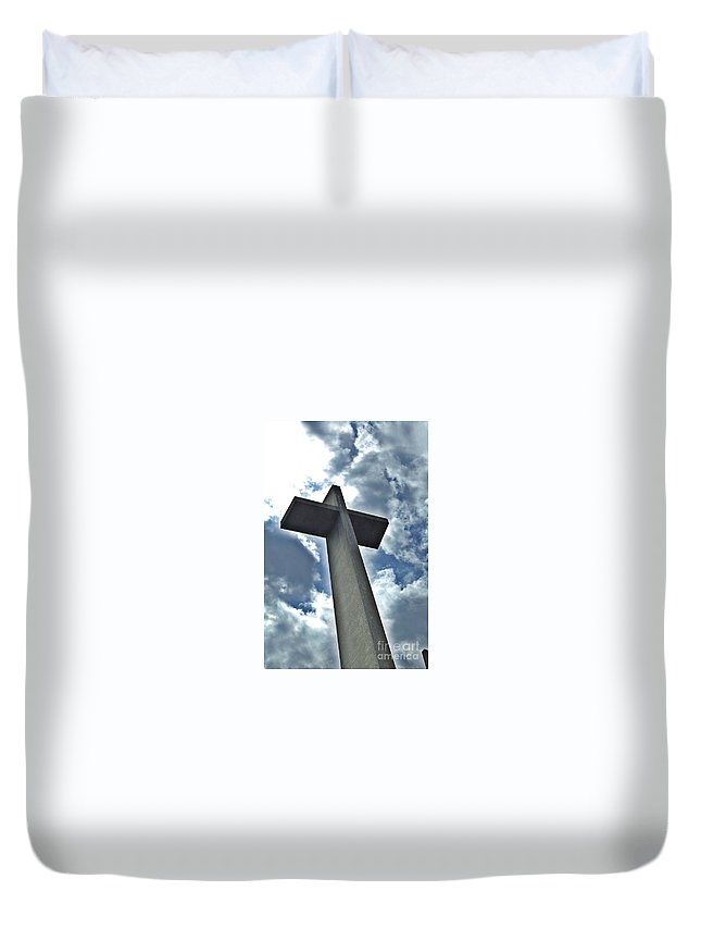 Religion Duvet Cover featuring the photograph Cement Worship Zoom by Lisa Kleiner