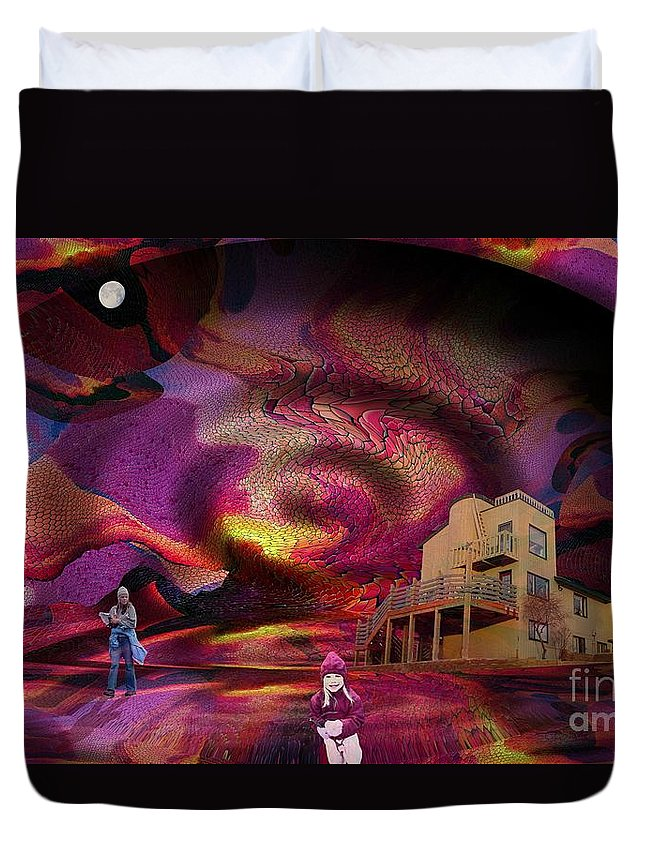 Center Duvet Cover featuring the digital art Center Of It All by Ron Bissett