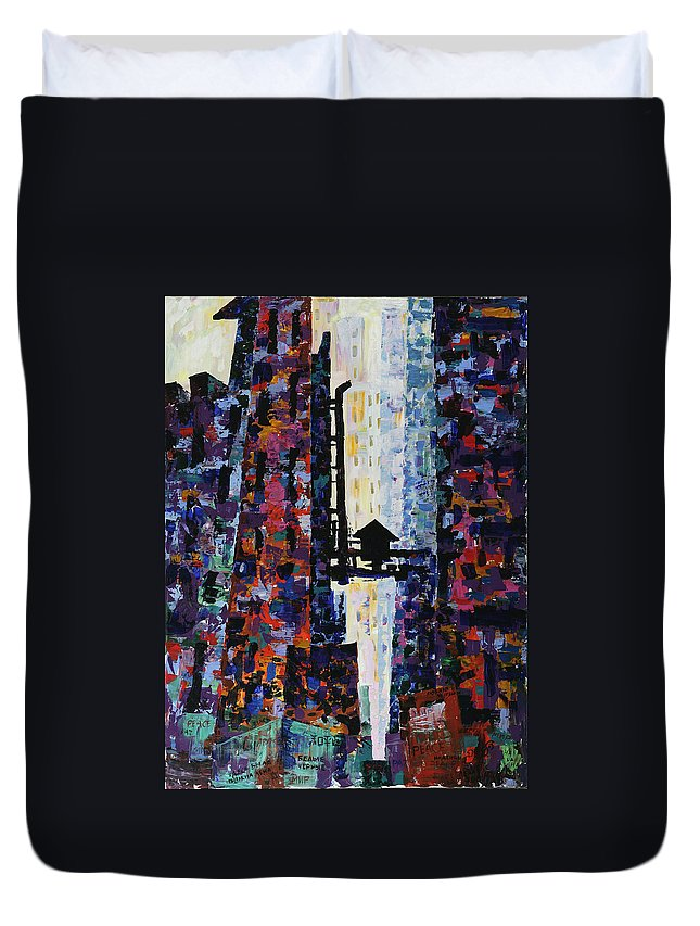 Urban Duvet Cover featuring the painting Center Street by Yelena Tylkina