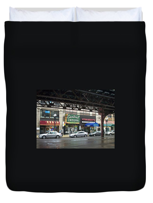 Chicago Duvet Cover featuring the photograph Central Camera On Wabash Ave by Anita Burgermeister