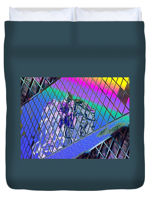 Seattle Duvet Cover featuring the digital art Central Library Seattle 3 by Tim Allen