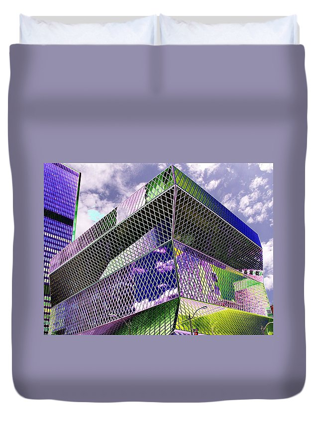 Seattle Duvet Cover featuring the digital art Central Library Seattle by Tim Allen