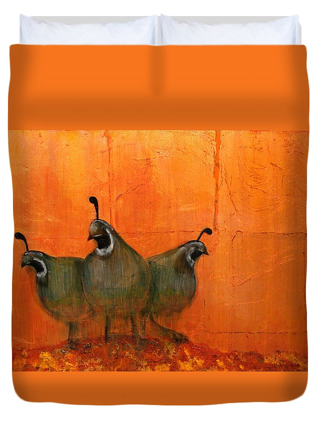 Oil Duvet Cover featuring the mixed media Central Oregon Quail by Patt Nicol