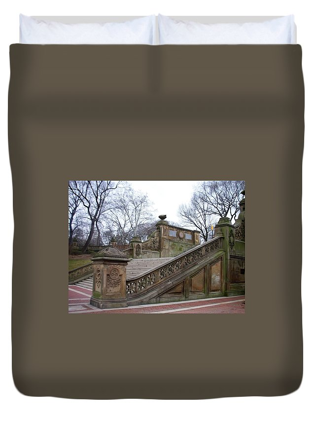 Central Park Duvet Cover featuring the photograph Central Park Bethesda 1 by Anita Burgermeister