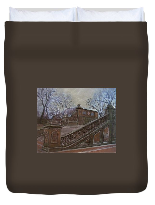Central Park Duvet Cover featuring the painting Central Park Bethesda Staircase by Anita Burgermeister