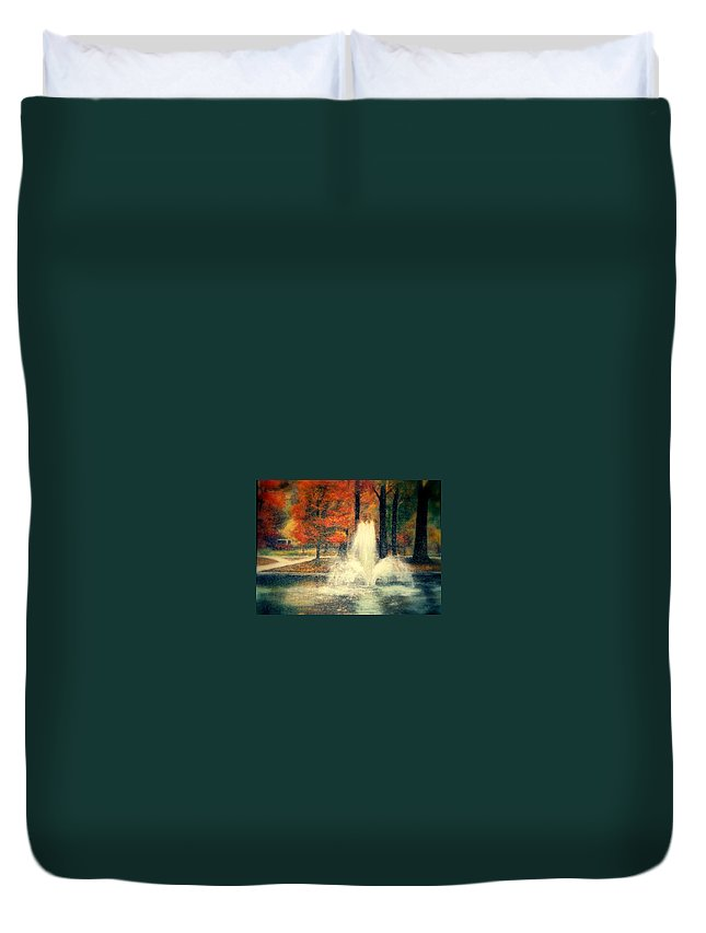 Pond Duvet Cover featuring the painting Central Park In Autumn by Gail Kirtz