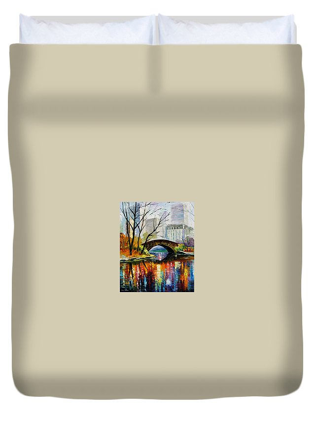 Landscape Duvet Cover featuring the painting Central Park by Leonid Afremov