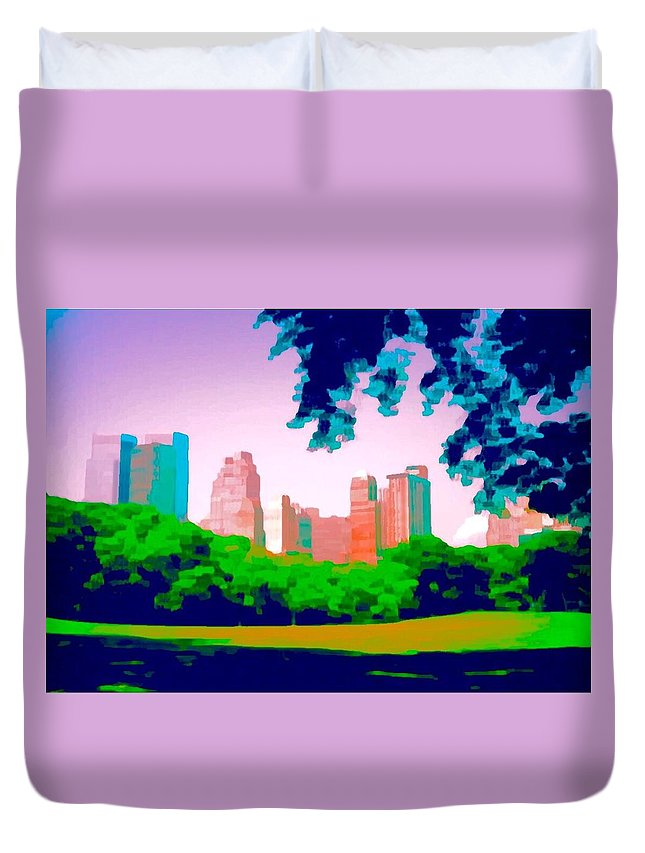 Central Park Duvet Cover featuring the painting Central Park by Paul Jarvis
