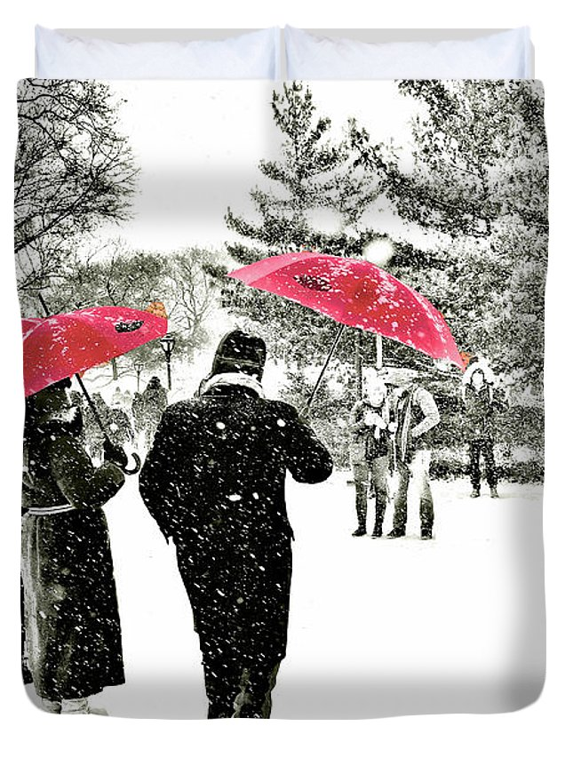Central Park Landscape Duvet Cover featuring the photograph Central Park Snow And Red Umbrellas by Regina Geoghan