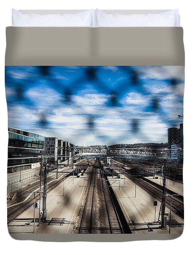 Oslo Duvet Cover featuring the photograph Central Train Station In Oslo by Leonardo Patrizi