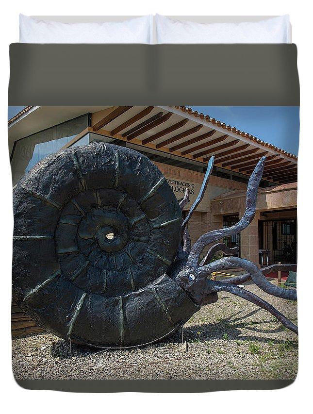 Amonita Duvet Cover featuring the digital art Centro De Investigaciones Paleontologicas by Carol Ailles