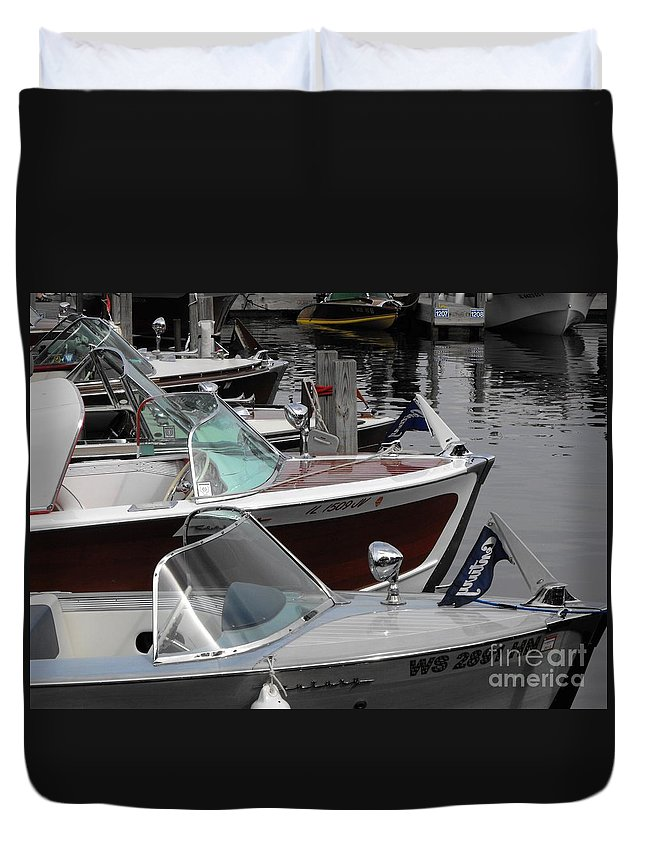 Motorboat Duvet Cover featuring the photograph Century Boats by Neil Zimmerman