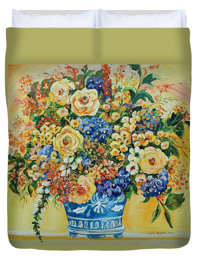 Florals Duvet Cover featuring the painting Ceramic Blue by Ingrid Dohm