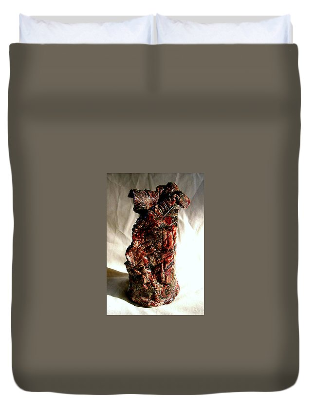 Ceramic Duvet Cover featuring the ceramic art Ceramic Red Vase by Madalena Lobao-Tello