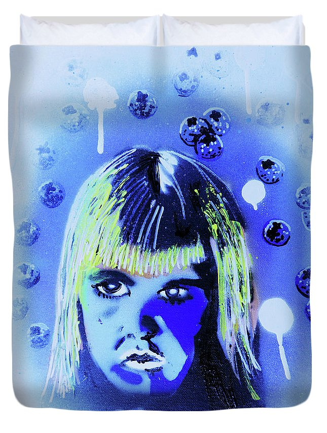 Cereal Killers Duvet Cover featuring the painting Cereal Killers - Boo Berry by eVol i