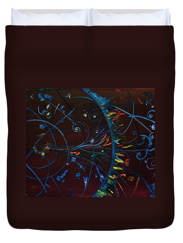 Cern Duvet Cover featuring the painting Cern Atomic Collision Physics And Colliding Particles by Gregory Allen Page