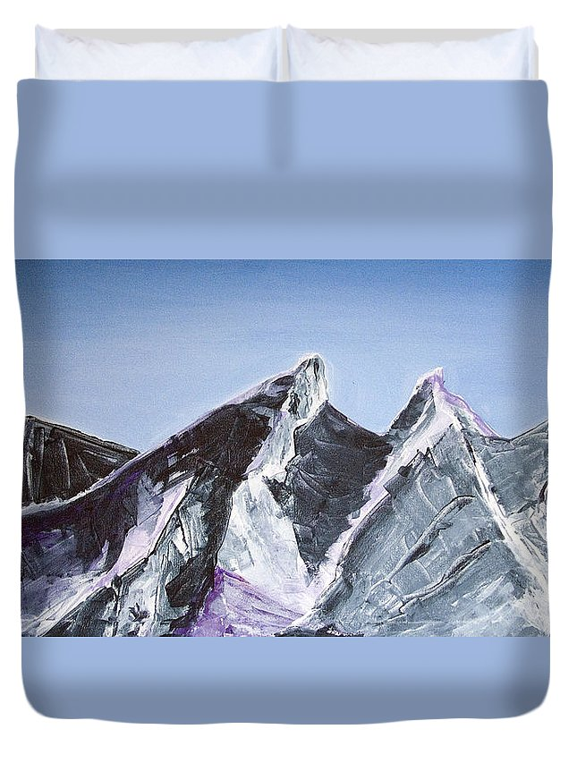 Acrylic Landscape Painting Duvet Cover featuring the painting Cerro De La Silla Of Monterrey Mexico by Kandyce Waltensperger