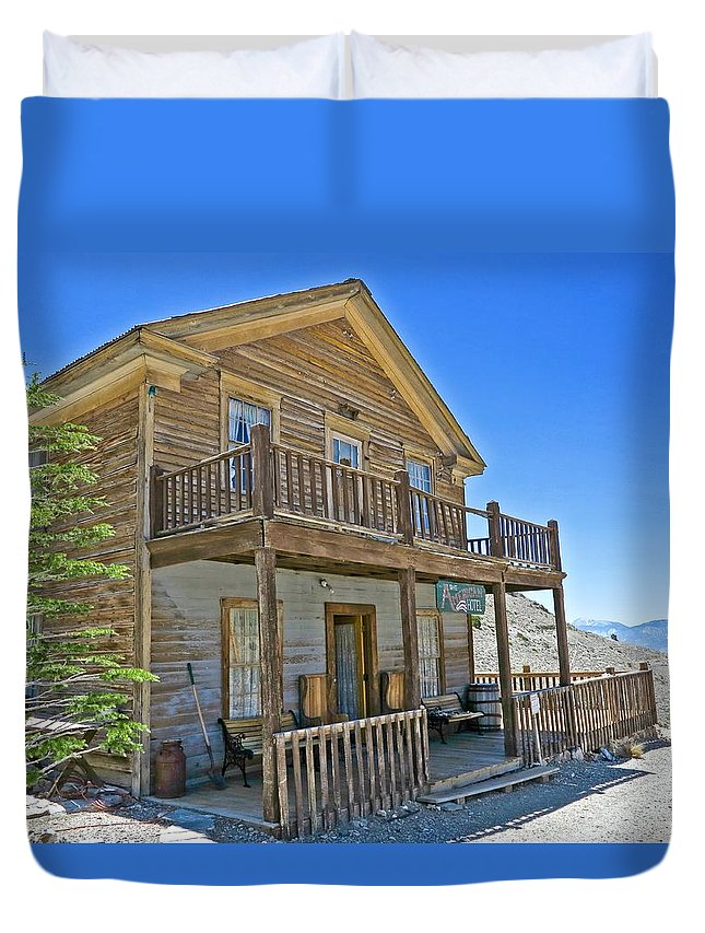 4x4 Duvet Cover featuring the photograph Cerro Gordo Ghost Town Hotel by Backcountry Explorers