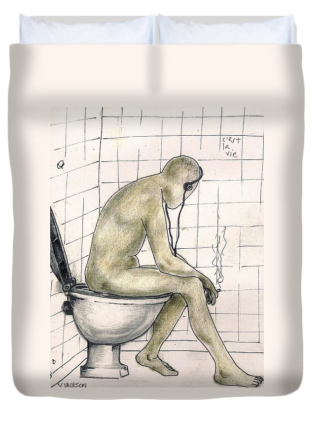 Life Naked Music Duvet Cover featuring the drawing C'est La Vie by Veronica Jackson