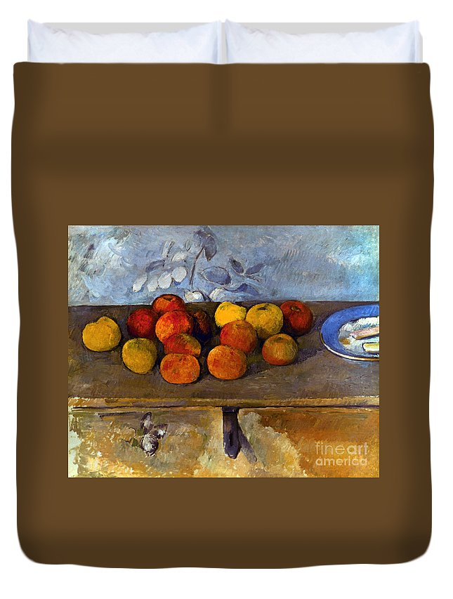 1880 Duvet Cover featuring the photograph Cezanne: Apples & Biscuits by Granger