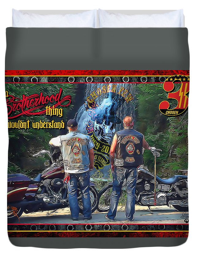 Duvet Cover featuring the digital art Cfmc Brotherhood Thing by Michael Drake