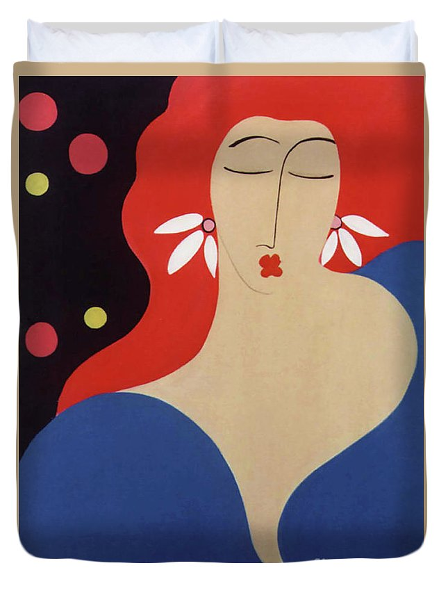 #female Duvet Cover featuring the painting Cha Cha by Jacquelinemari