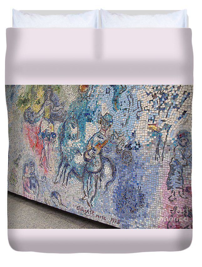 Chicagoland Duvet Cover featuring the photograph Chagall Chicago Mosaic by Ann Horn