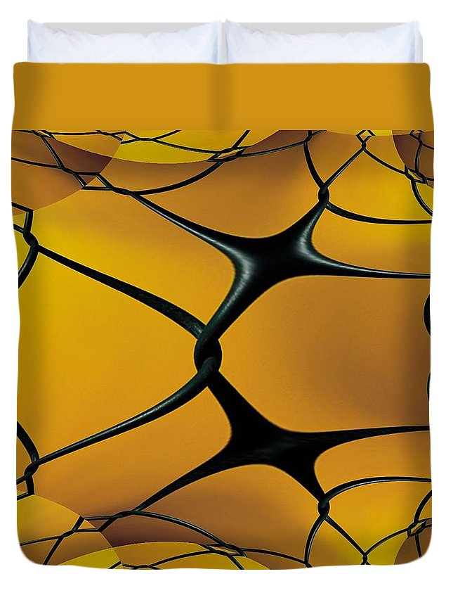 Chain Link Duvet Cover featuring the photograph Chain Link Fractal by Tim Allen
