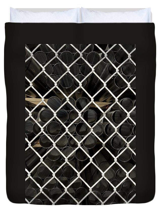 Fence Duvet Cover featuring the photograph Chain Link Pipe by Sara Stevenson