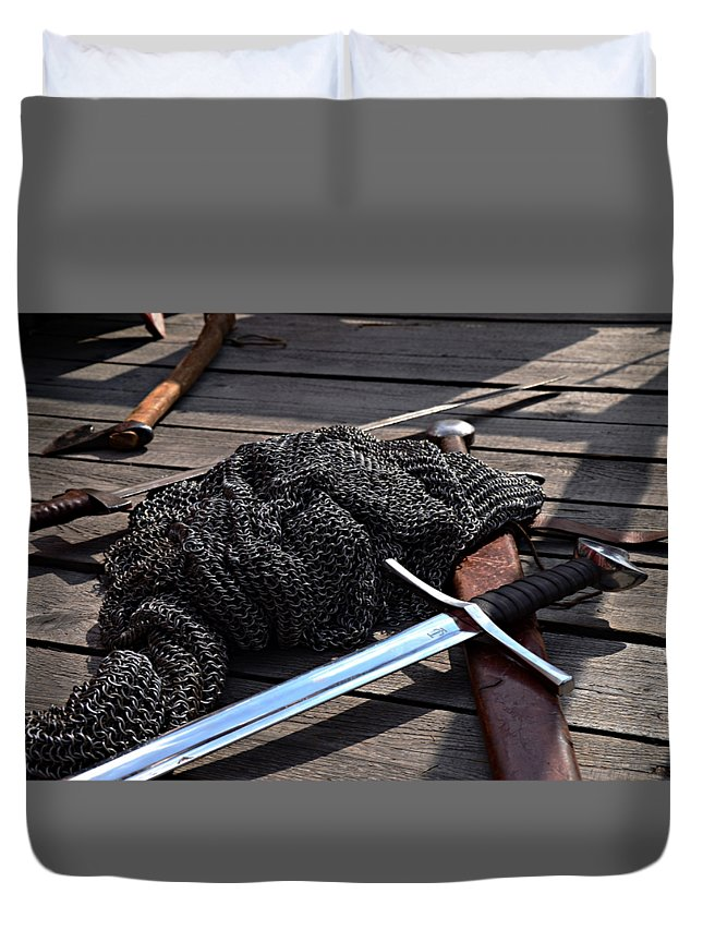 Chain Duvet Cover featuring the digital art Chain Mail And Sword by Frederick Holiday