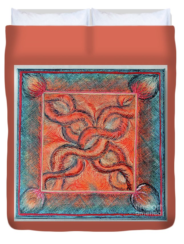 Abstract Duvet Cover featuring the painting Chains by Mary Shawn Newins