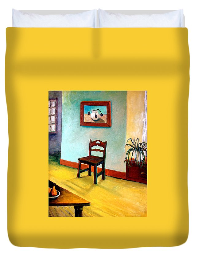 Apartment Duvet Cover featuring the painting Chair And Pears Interior by Michelle Calkins